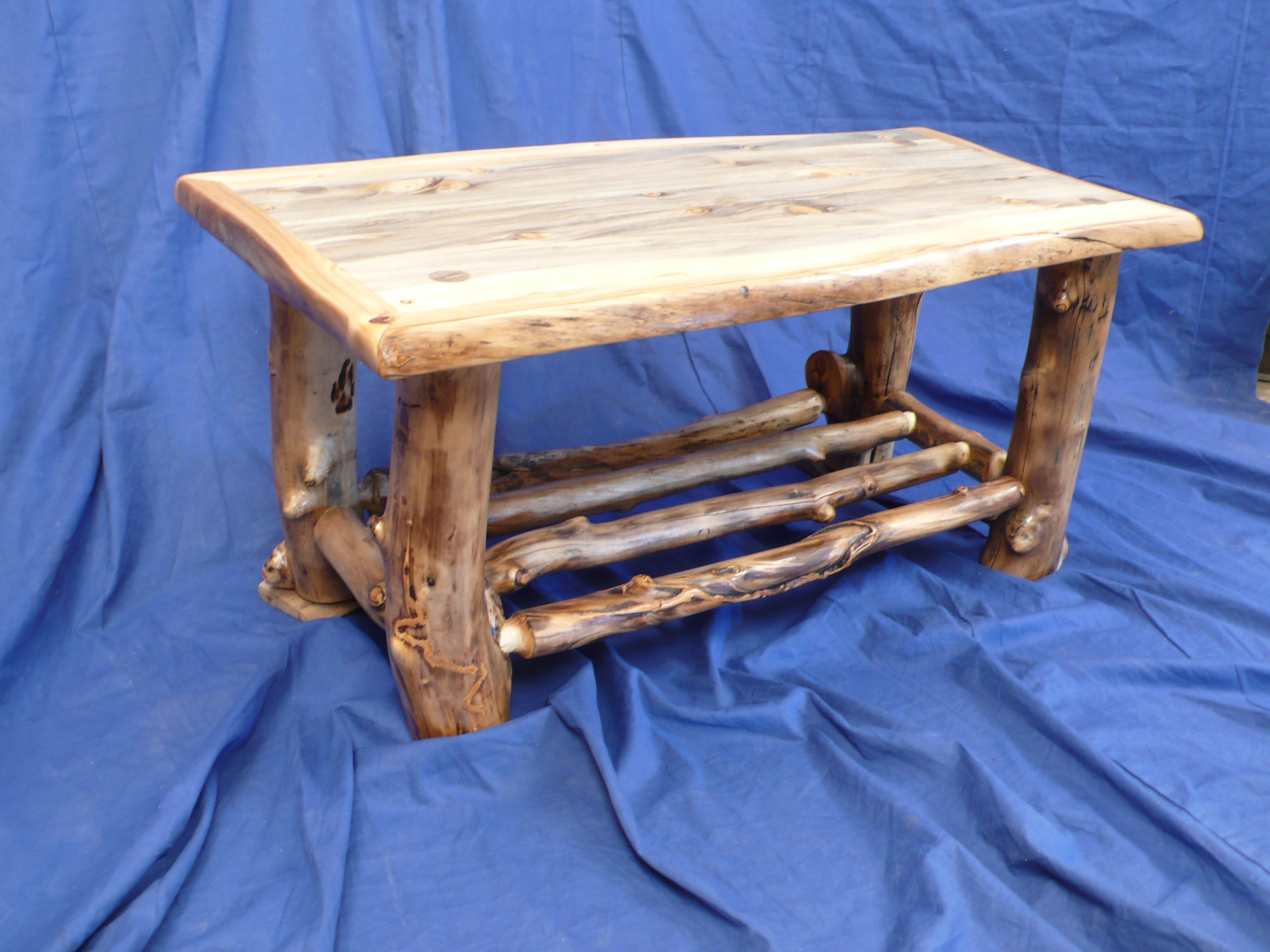 Swell Aspen Log Coffee Table With Spindle Shelf And Wrapped With Aspen Log Bralicious Painted Fabric Chair Ideas Braliciousco