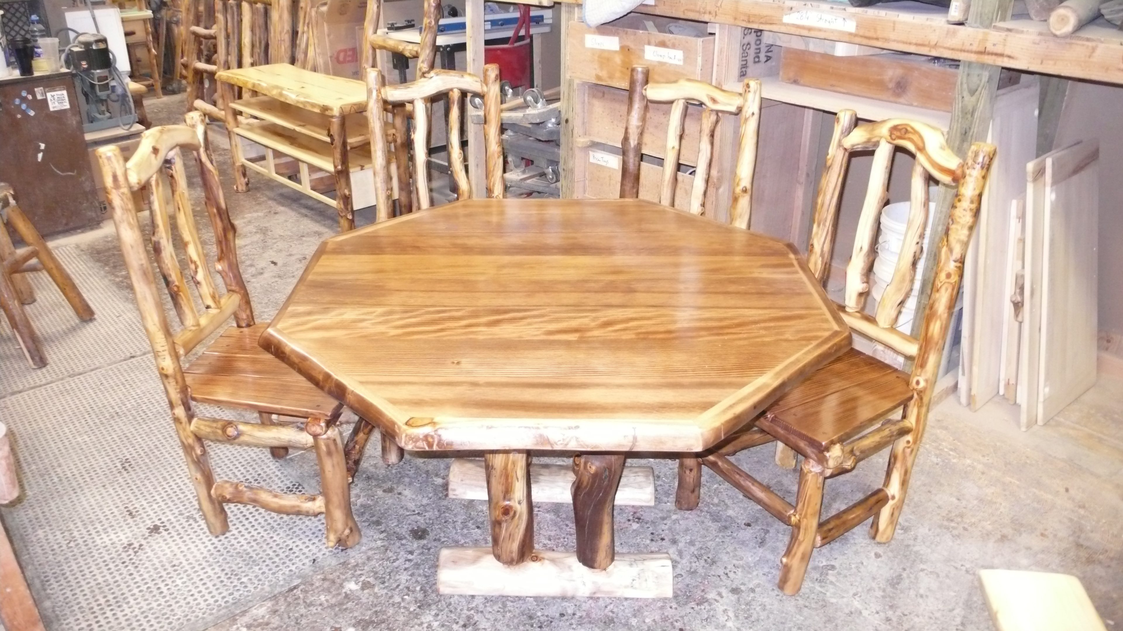Octagonal Douglas Fir and Aspen Log Dining Table - MedicineWolf