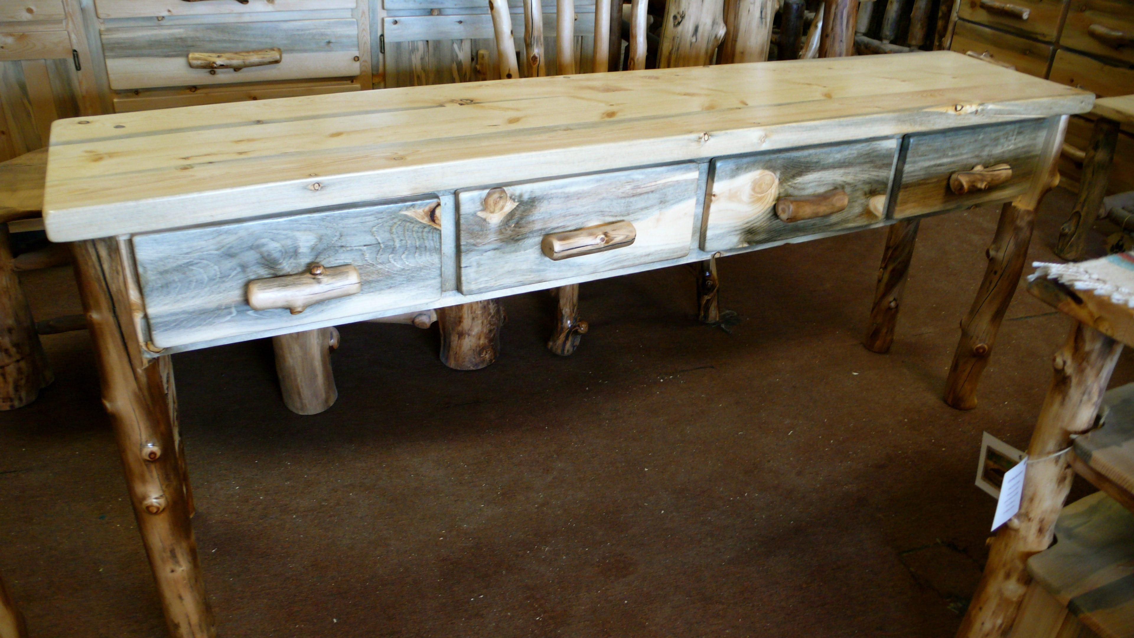 Four drawer beetle kill pine sofa table medicinewolf - Pine sofa table with drawers ...